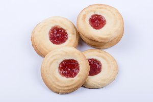 Tasteful biscuit with jam topping