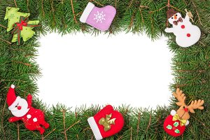Christmas frame made of fir branches decorated with Snowman and Santa Claus isolated on white background