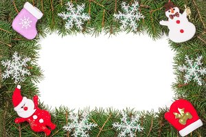 Christmas frame made of fir branches decorated with snowflakes Snowman and Santa Claus isolated on white background
