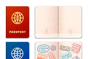 Realistic passport icons