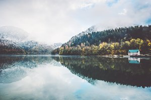 Lake and autumn Forest Landscape