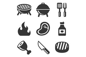 Grill and Barbecue Icons Set
