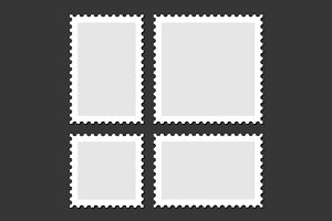 Blank Postage Stamps Set