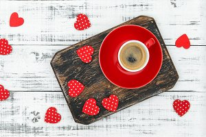 Coffee red hearts decoration