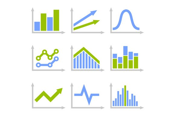 Color Graph Chart Icons Set