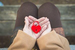 red padlock in heart shape