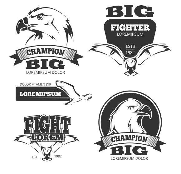 Military Eagle Heraldry Labels
