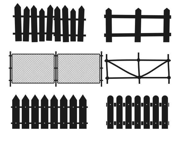Rural Wooden Fences Silhouettes