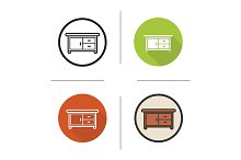 Kitchen counter. 4 icons. Vector