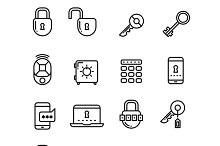 Key, security thin line icons