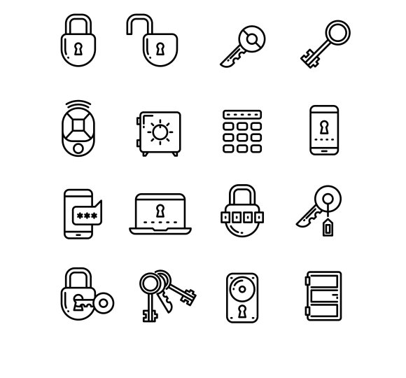 Key Security Thin Line Icons