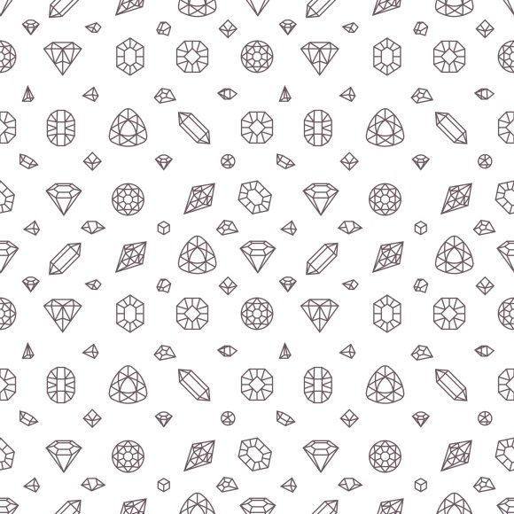 Crystal Diamonds Seamless Pattern