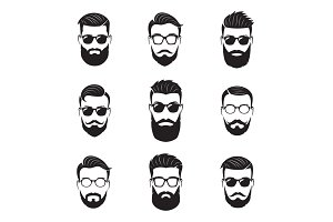Vector bearded men faces