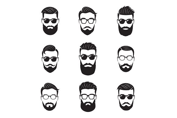Vector Bearded Men Faces