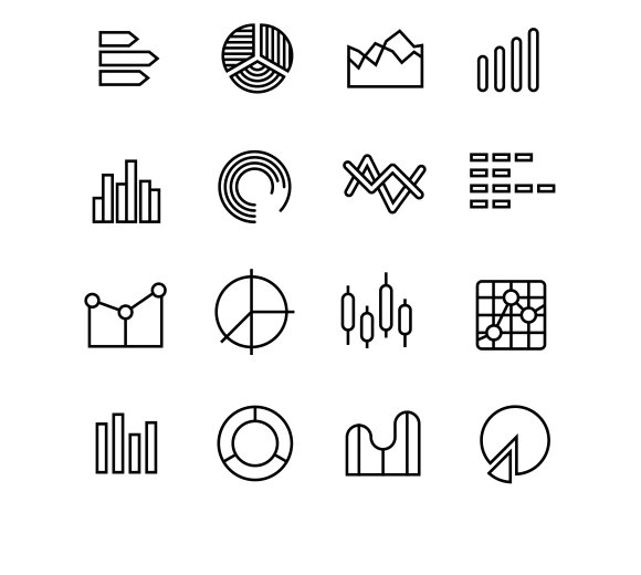 Graph Data Chart Thin Line Icons
