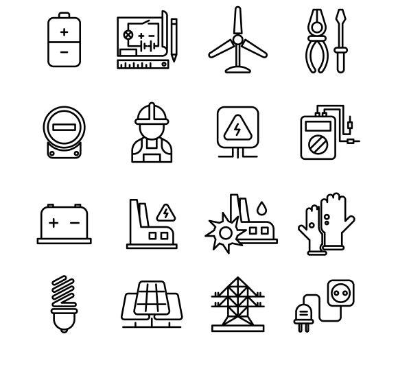 Electricity Industry Line Icons