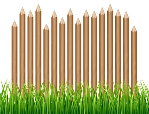Rural Wooden Fence With Green Grass
