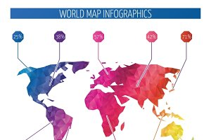 Vector world map for infographic illustrations creative market origami world map infographics gumiabroncs Choice Image