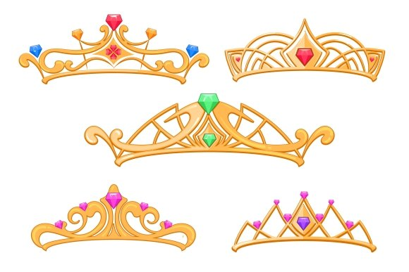 Princess Crowns Cartoon Set