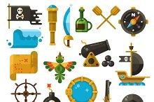 Sea adventure, pirate flat icons