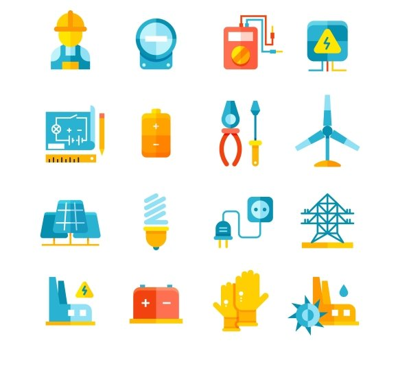 Electrical Equipment Flat Icons