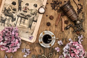 Coffee and flowers. Vintage items