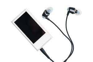 Small MP3 music player and earbuds
