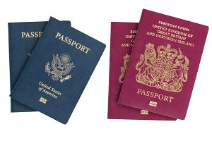 Isolated US and UK passports