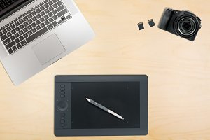 Organized desk with graphics tablet