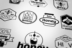 Bee Honey Vector Badges Logos