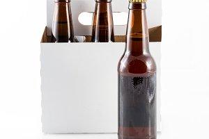 Five bottles of beer in cardboard carrier
