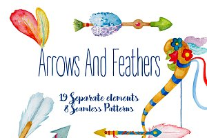 Watercolor Arrows and Feathers Set