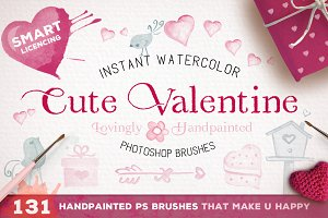 Cute Valentine Watercolor Brush Set