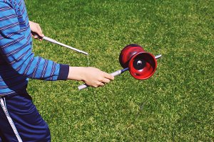 Boy playing diabolo