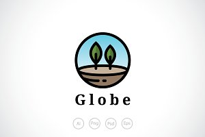 Trees in a Globe Logo Template