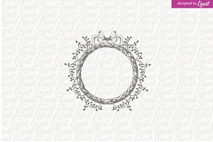 Floral  Wreath Wedding Logo