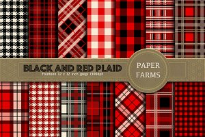 Red and black plaid digital paper