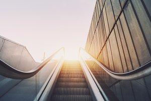 Outdoor city escalator stairway