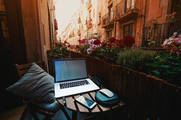 Cozy beautiful workspace on balcony