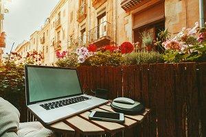 Cozy beautiful workspace on balcony