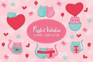 Purrfect Valentine ClipArt & Pattern