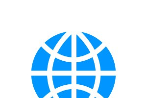 World globe simple blue icon
