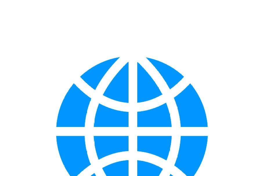 World globe simple blue icon