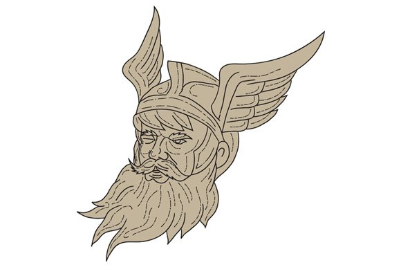 Norse God Odin Head Drawing