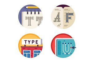 Type font pixel perfect icons set