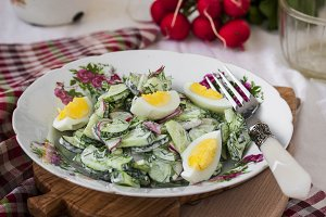 Salad radishes and cucumbers in sour cream sauce