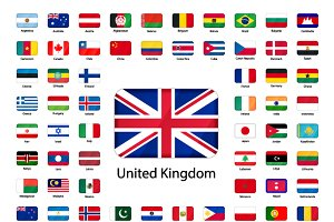 Set of glossy icons of flags