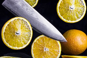 flying slices of orange