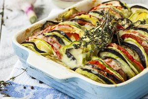 vegetable ratatouille with cheese and thyme