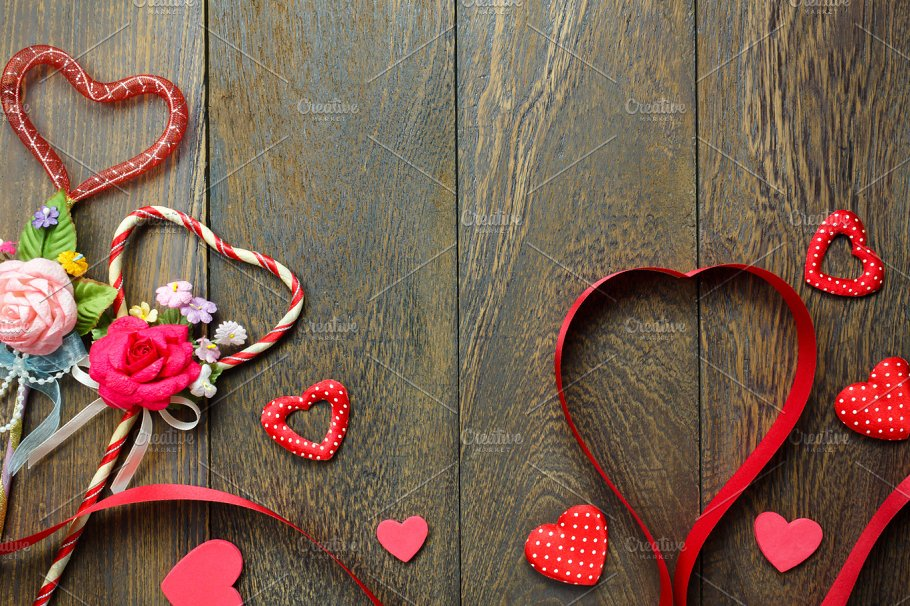Top View Valentine Day Background Holiday Photos Creative Market